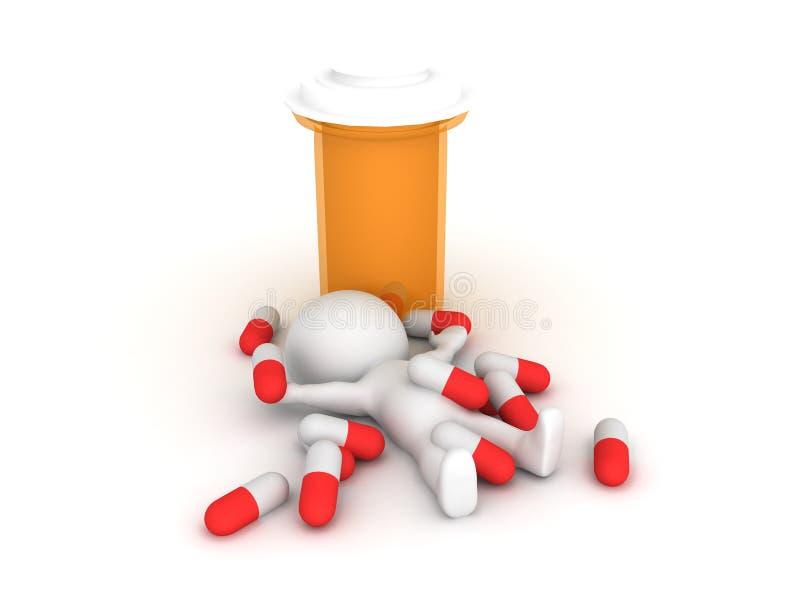 illustration som 3D visar farmaceutiskt preventivpillermissbruk royaltyfri illustrationer