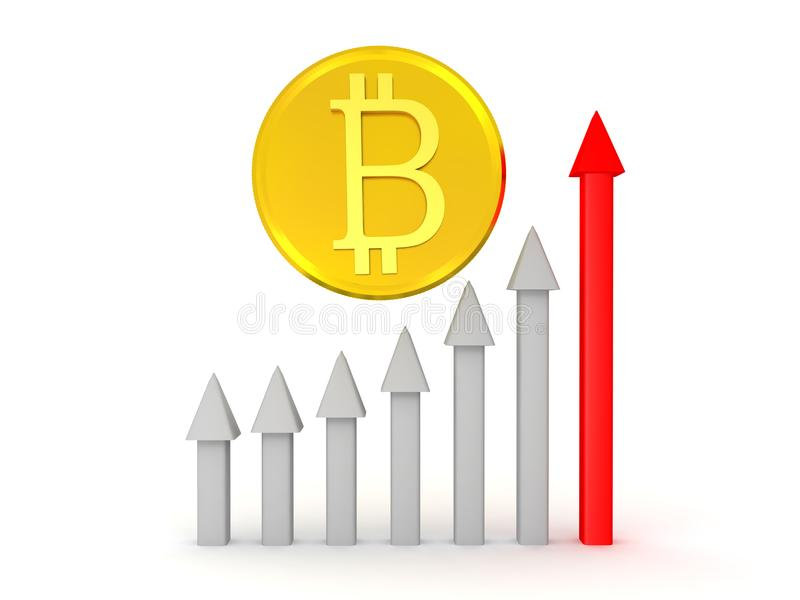 illustration som 3D visar löneförhöjningen av bitcoin royaltyfri illustrationer