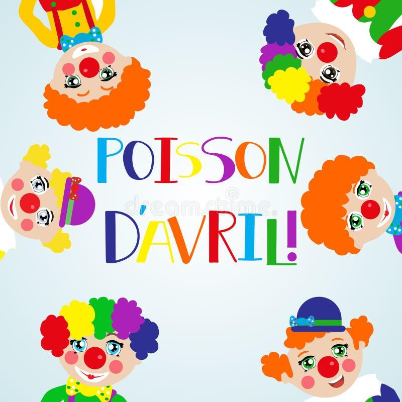Illustration som firar April Fools `-dag översatt från fransman: April Fool stock illustrationer