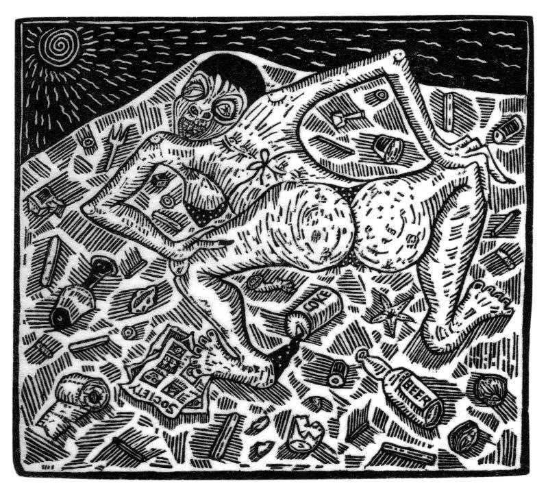 Illustration som göras från wood gravyr som visar en plats av exploatering och orättvisa stock illustrationer