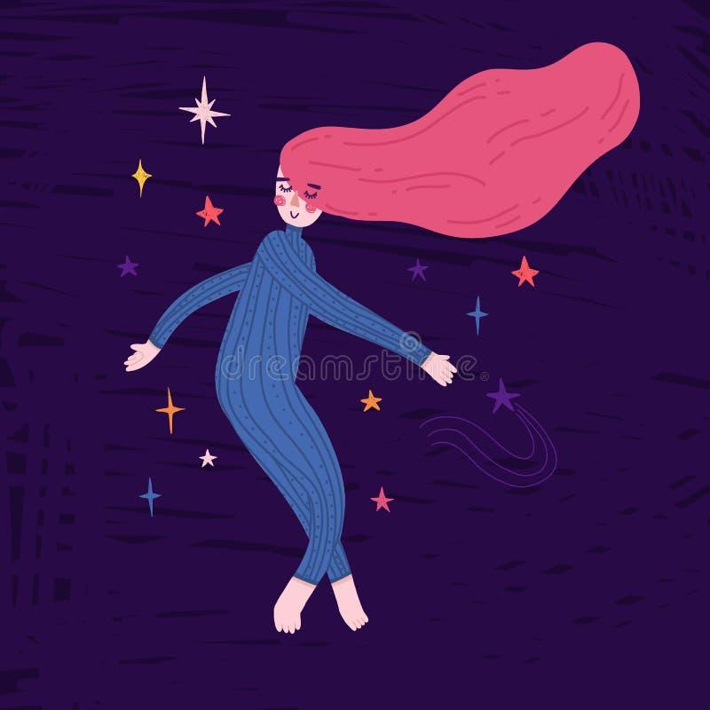 Illustration som sover flickaflugan i utrymme Barns tryck i klotterstil med stjärnan och den gulliga teckenastronautkvinnan stock illustrationer
