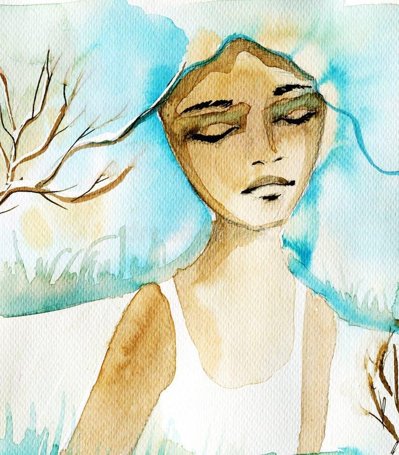 Illustration som visar en stående av en kvinna vektor illustrationer