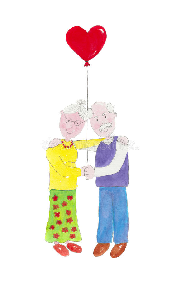 Illustration som visar ett förälskat älskvärt gammalt par vektor illustrationer