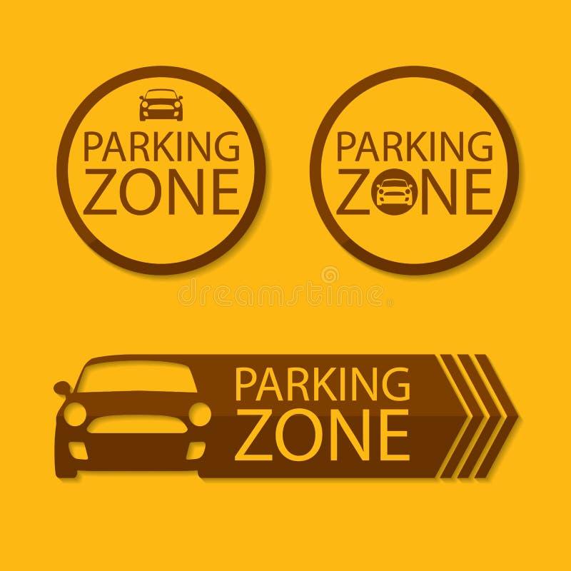 Illustration som visar ett tecken som riktar till att parkera vektor illustrationer