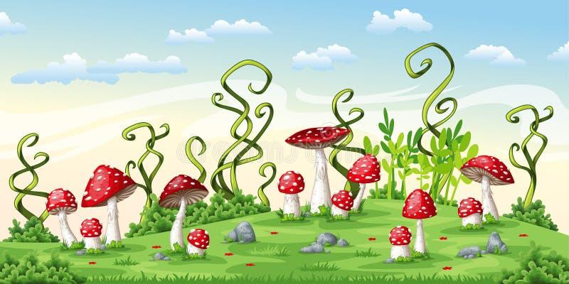 Illustration of some fly mushrooms. Vector stock illustration