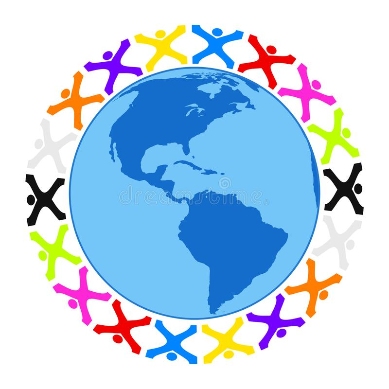Some stylized people building a circle around the earth. Illustration of some stylized people building a circle around the earth america royalty free illustration
