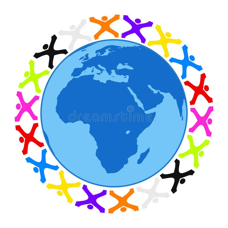 Some stylized people building a circle around the earth. Illustration of some stylized people building a circle around the earth vector illustration