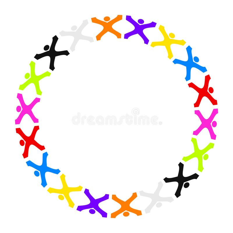 Some stylized people building a circle. Illustration of some stylized people building a circle vector illustration