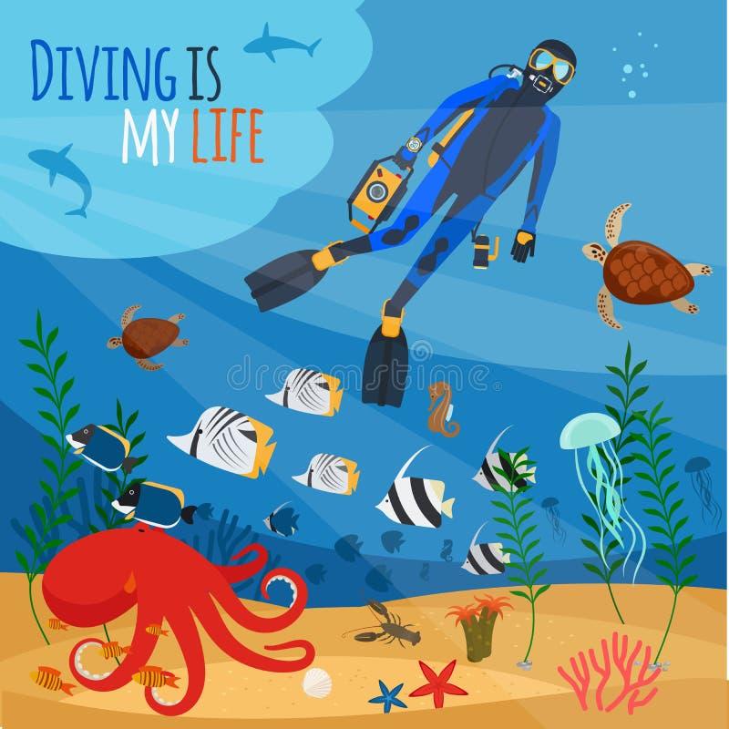 Illustration sous-marine de plongeur illustration libre de droits