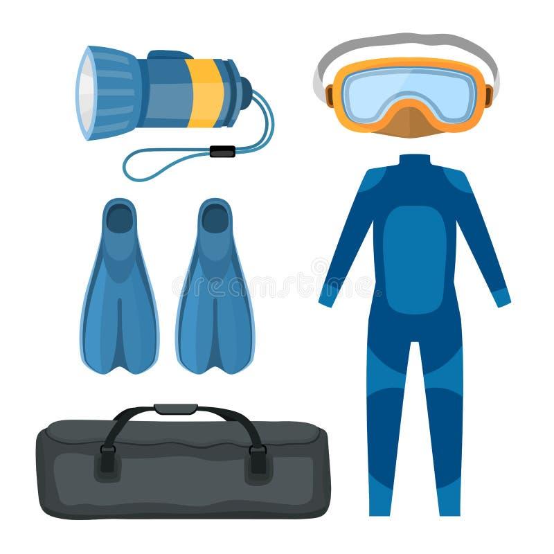Illustration sous-marine de vecteur d'équipement de scaphandre de costume de plongée illustration stock