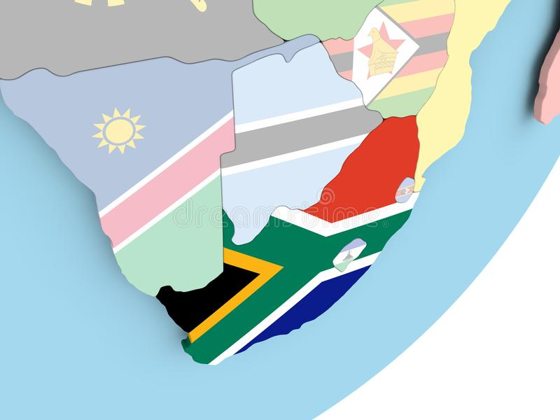South Africa with flag. Illustration of South Africa on political globe with embedded flag. 3D illustration vector illustration