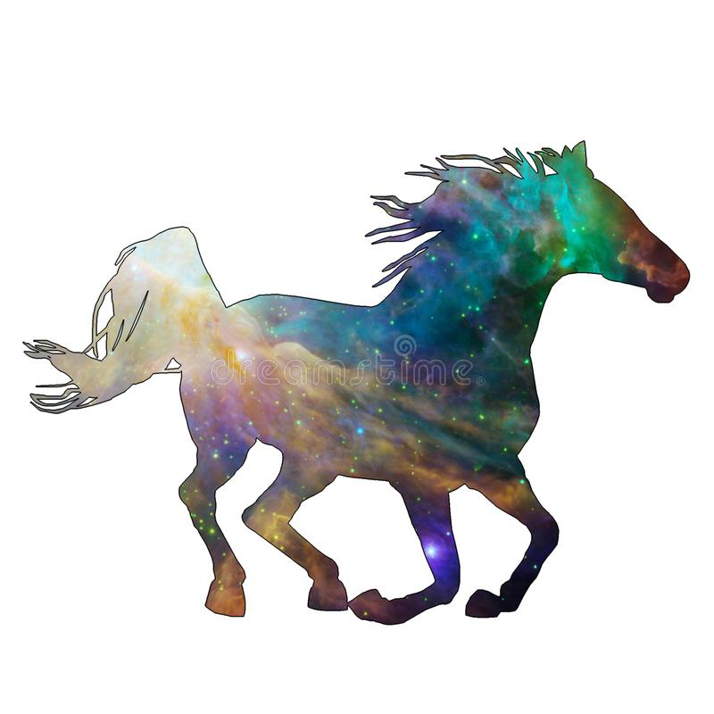 Space Animal Celestial Horse. Illustration of space animal Horse. Space animals are cute and mystical creatures who travel in the sky among the stars in vector illustration