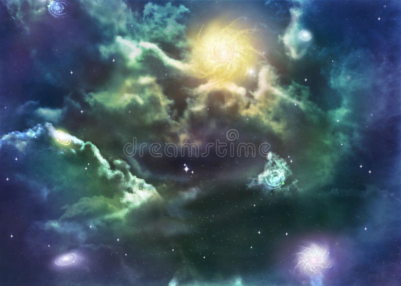 Illustration of a space nebula. A gorgeous illustration of a space nebula, complete with stars and other galaxies royalty free illustration
