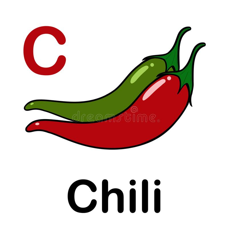 Spicy chili with spelling word. Illustration of spicy chili with spelling word stock illustration