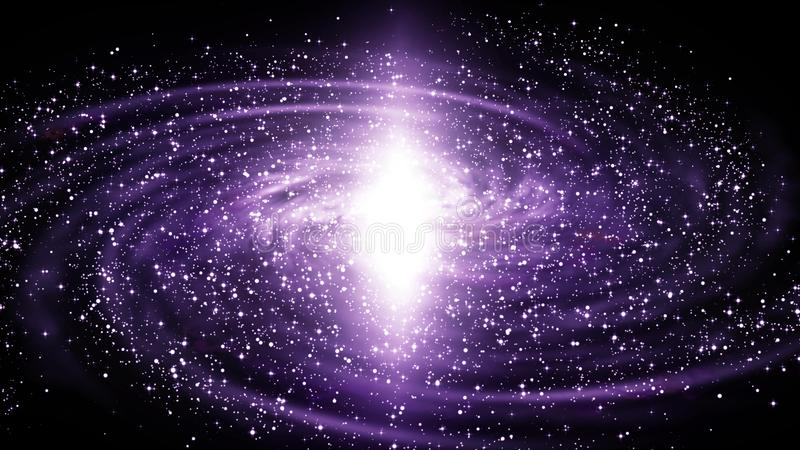 Illustration of spiral galaxy in deep space stock illustration