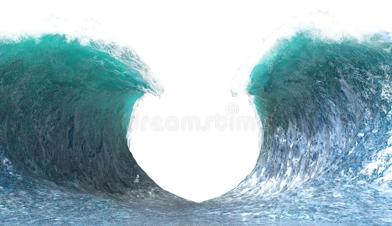 Split Ocean Wave Background Isolated, Sea royalty free stock photos
