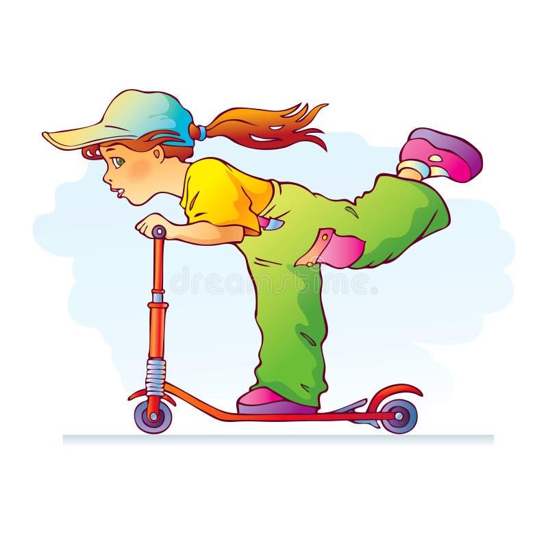 Sportive girl riding scooter stock photos