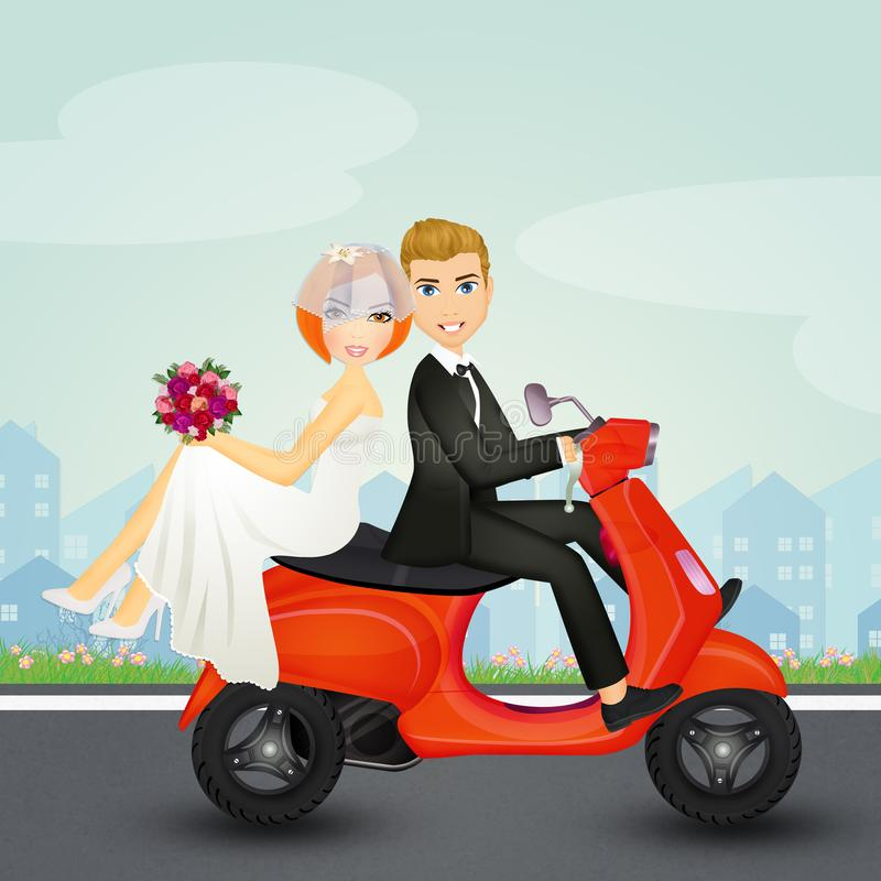 Spouses on scooter. Illustration of spouses on scooter stock illustration