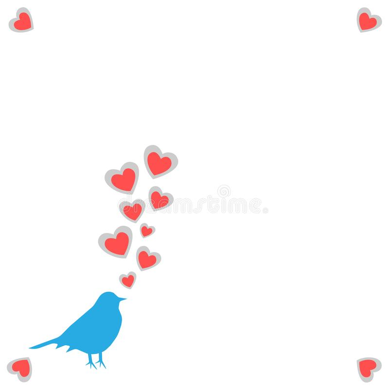 Illustration a spring card with a silhouette of a bird of blue color with the taking-off hearts from a beak on a white background. With hearts on corners for a royalty free illustration
