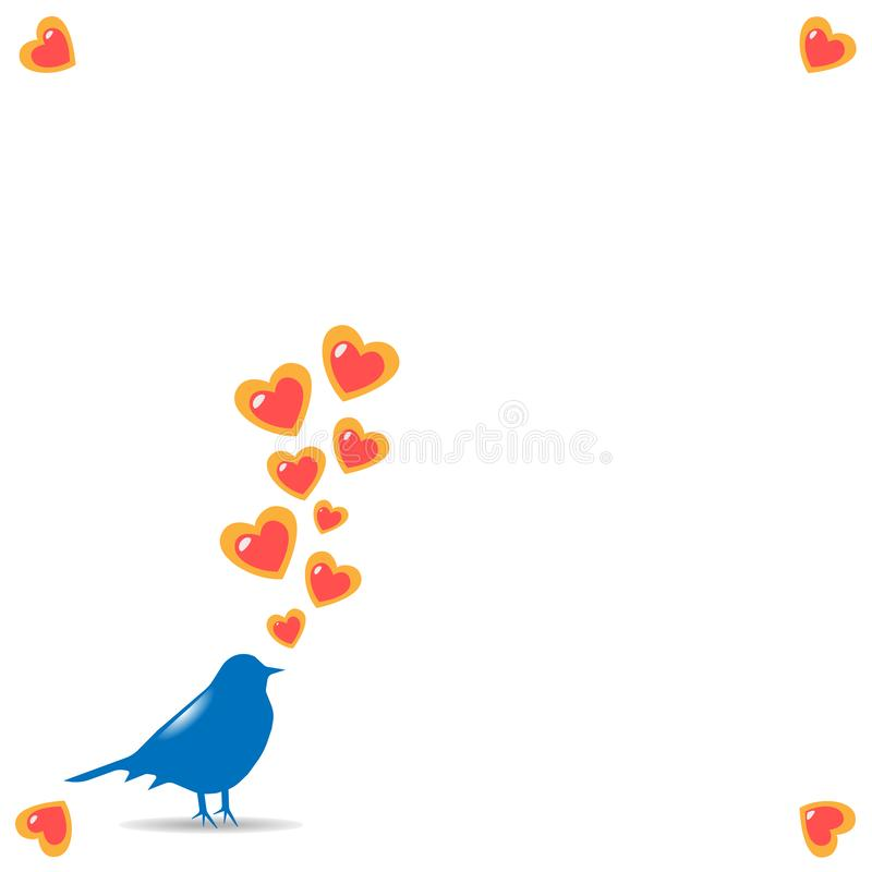 Illustration a spring card with a silhouette of a bird of blue color with the taking-off hearts from a beak on a white background. With hearts on corners for a stock illustration