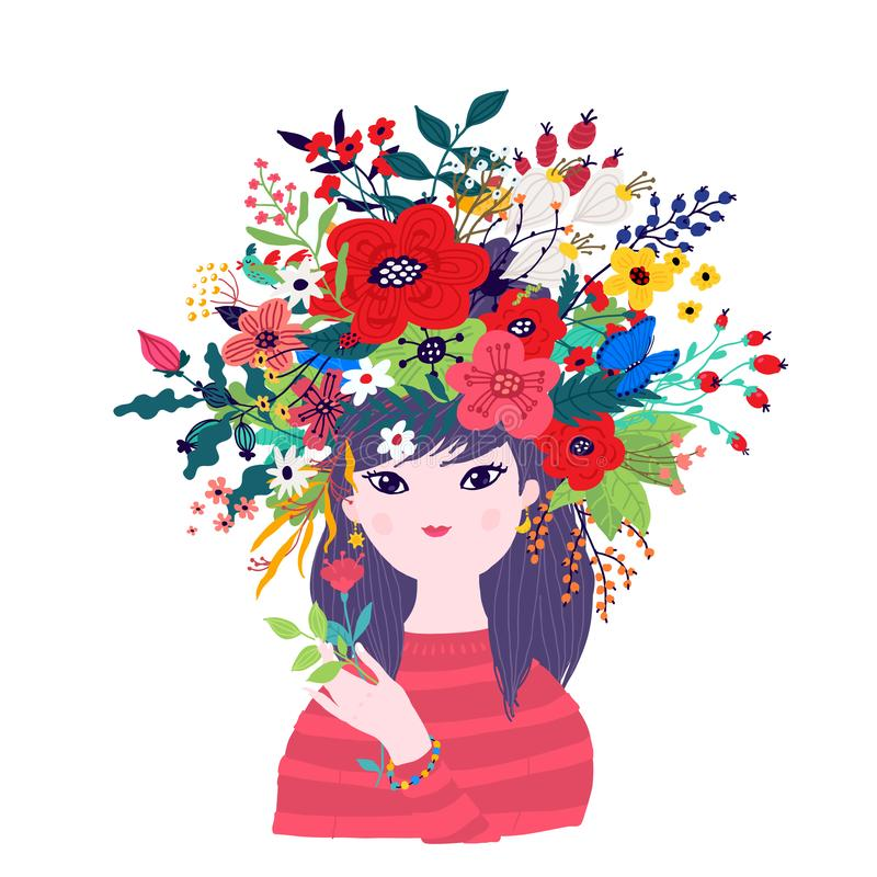 Illustration of a spring girl in a wreath of flowers. Vector. Illustration for banner, greeting card. Picture for March 8 and. Mother`s Day. Cartoon style. The royalty free illustration