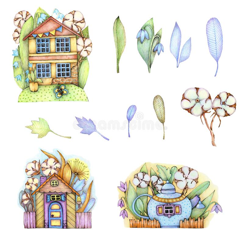 Free Illustration. Spring Houses Surrounded By Flowers, Herbs, Cotton, A Set Of Elements For Stickers, Postcards, Posters, Prints And Royalty Free Stock Image - 215084886