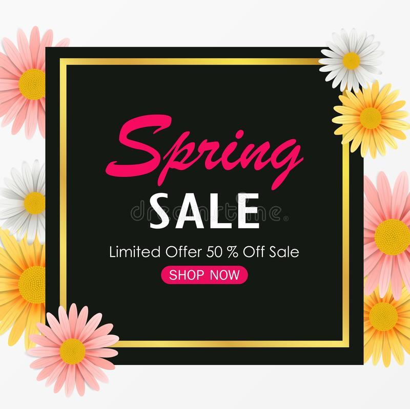 Spring sale background banner with beautiful colorful flower. Illustration of Spring sale background banner with beautiful colorful flower royalty free illustration