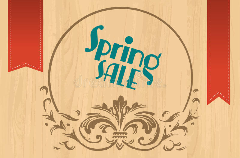 Spring sale sign on wooden background with ornament vector illustration