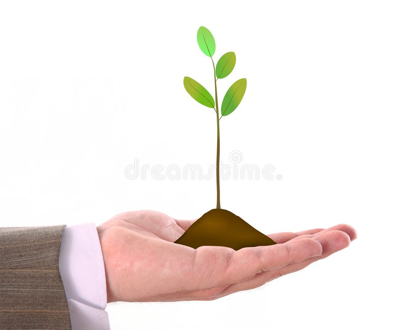 Illustration of sprounting plant in businessman's stock photo