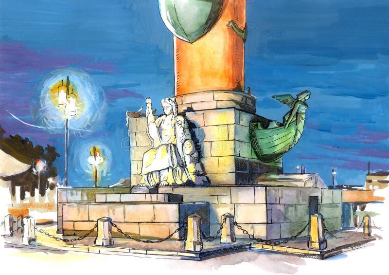 Illustration St Petersburg Rostral columns royalty free stock photos