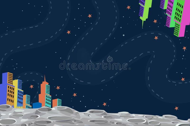 Illustration: Stad på månen stock illustrationer