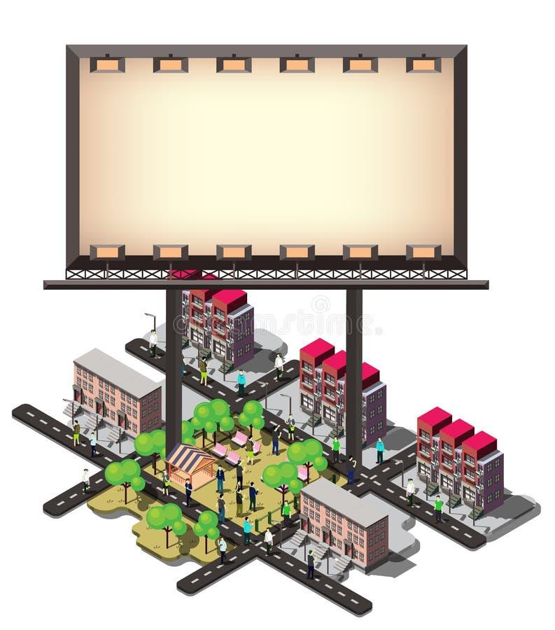 Illustration Stadtkonzeptes der grafischen Anschlagtafel der Informationen des städtischen stock abbildung