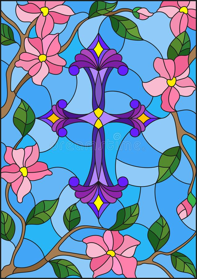 illustration in Stained glass stile with a purple Christian cross in the sky and pink flowers stock illustration