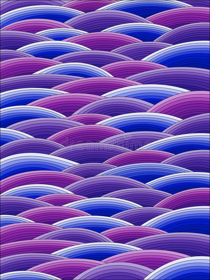 Stained glass illustration with abstract blue waves, imitation of waves. Illustration in stained glass style with abstract blue waves, imitation of waves vector illustration