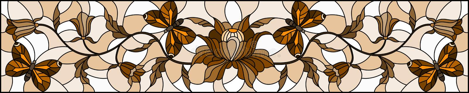 Stained glass illustration with abstract curly  flower and   butterfly on brown background , horizontal image, Sepia,monochrome. Illustration in stained glass vector illustration