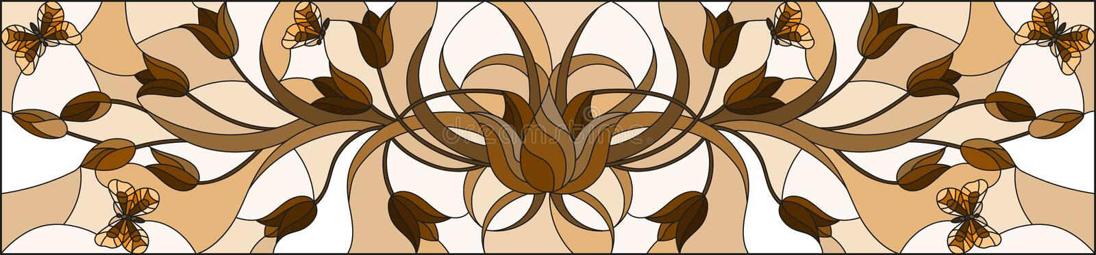 Stained glass illustration with abstract curly  flower and   butterfly on brown background , horizontal image, Sepia,monochrome. Illustration in stained glass stock illustration