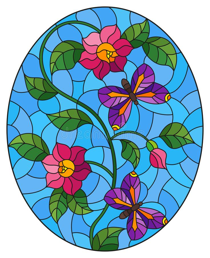 Stained glass illustration with  abstract curly pink flowers and a purple butterfly on blue background , oval image. Illustration in stained glass style with royalty free illustration