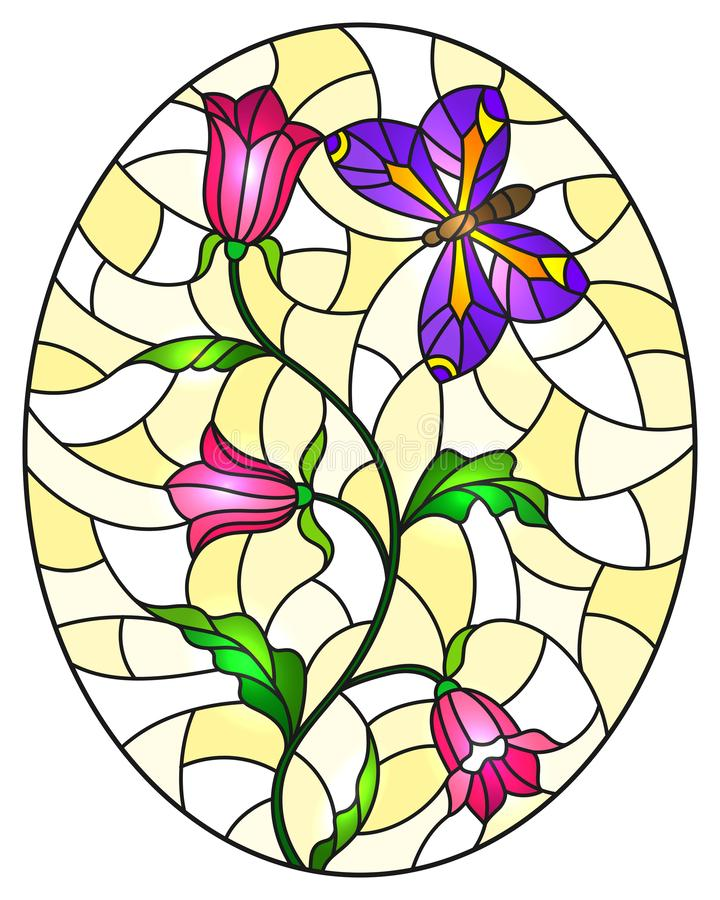 Stained glass illustration with  abstract curly pink flowers and a purple butterfly on a yellow background , oval image. Illustration in stained glass style with royalty free illustration