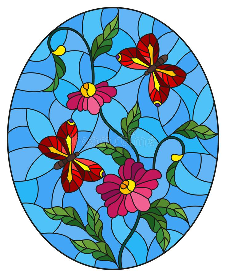 Stained glass illustration with abstract curly pink flowers and a red butterfly on blue background , oval image. Illustration in stained glass style with stock illustration
