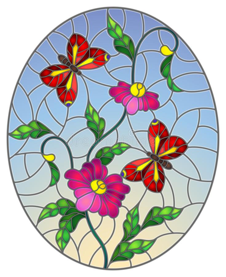 Stained glass illustration with  abstract curly pink flowers and a red butterfly on blue background , oval image. Illustration in stained glass style with royalty free illustration