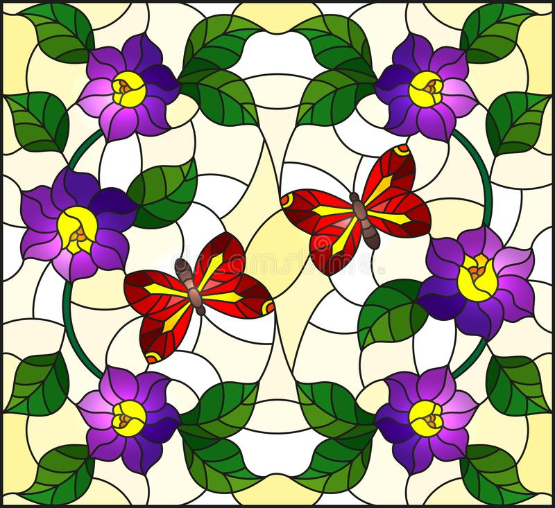 Stained glass illustration with abstract curly purple flower and a red butterfly on yellow background. Illustration in stained glass style with abstract curly royalty free illustration