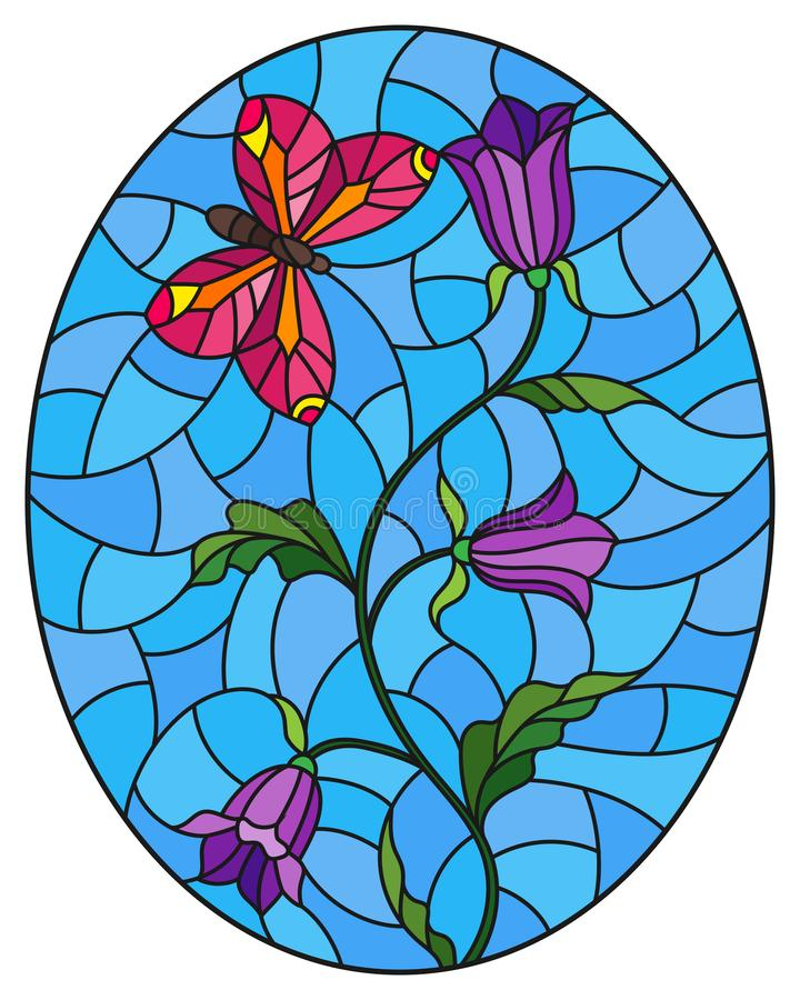 Stained glass illustration with  abstract curly purple flowers and a pink butterfly on blue background , oval image. Illustration in stained glass style with royalty free illustration