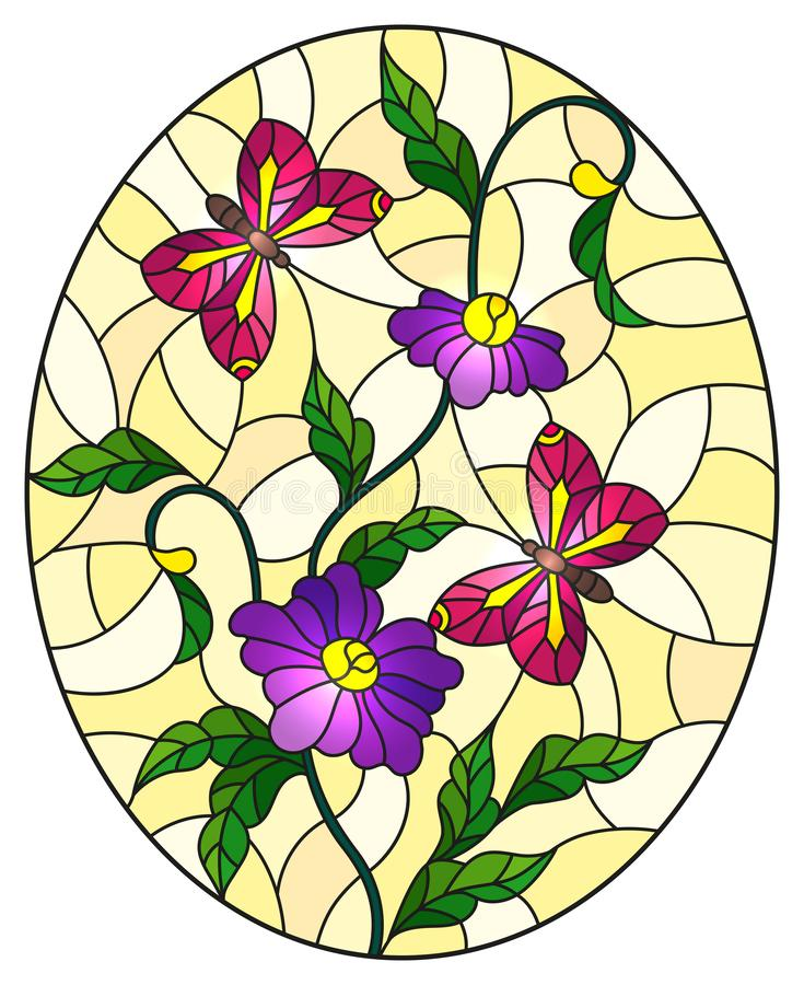 Stained glass illustration  with abstract curly purple flowers and a pink butterfly on yellow background , oval image. Illustration in stained glass style with royalty free illustration