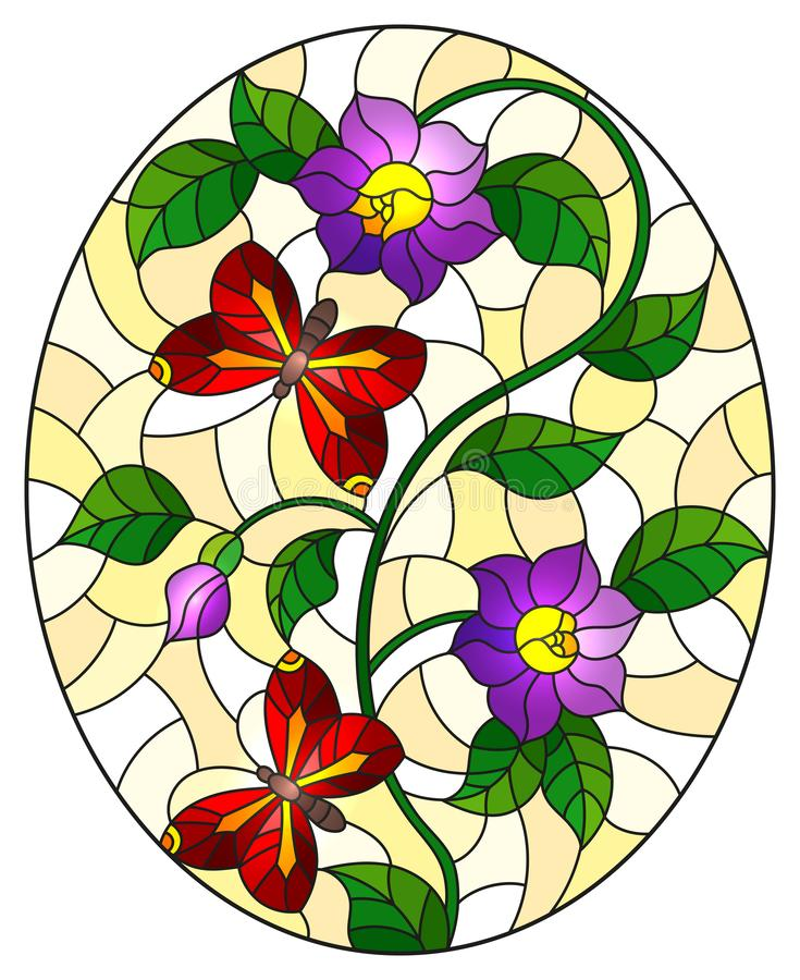Stained glass illustration  with abstract curly purple  flowers and a red butterfly on yellow background , oval image. Illustration in stained glass style with vector illustration