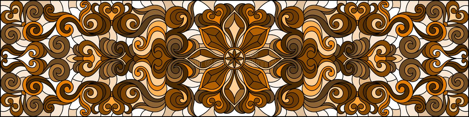 Stained glass illustration with  abstract flowers, swirls and leaves  on a light background,horizontal orientation, sepia. Illustration in stained glass style royalty free illustration