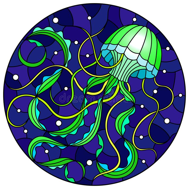 Stained glass illustration with abstract green  jellyfish against a dark blue sea and bubbles, round image vector illustration