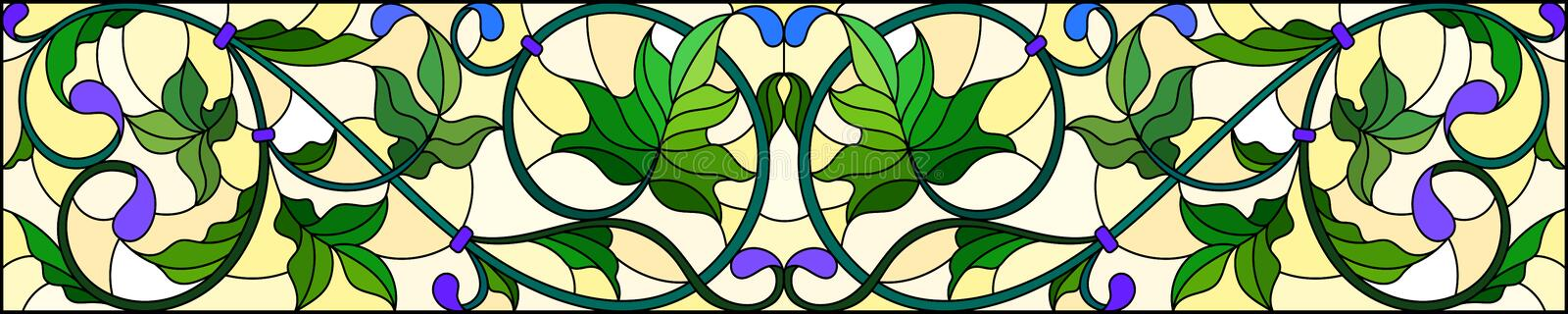 Stained glass illustration with abstract green swirls and leaves on a yellow background,horizontal orientation. Illustration in stained glass style with abstract royalty free illustration