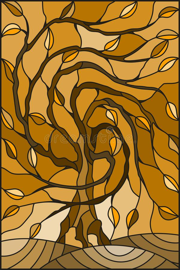 Stained glass illustration with autumn willow tree on sky background ,tone brown,sepia vector illustration