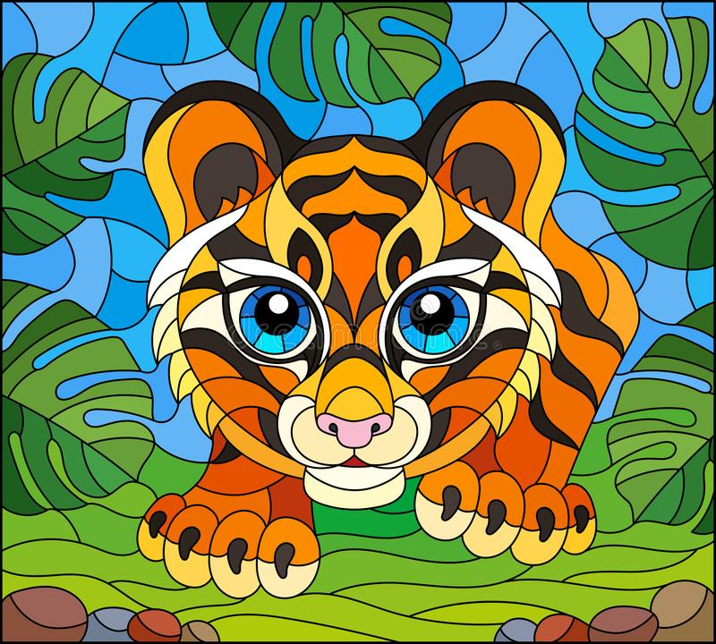 Stained glass illustration with  baby tiger on the hunt, animal on the background of tropical leaves. Illustration in stained glass style with baby tiger on the stock illustration