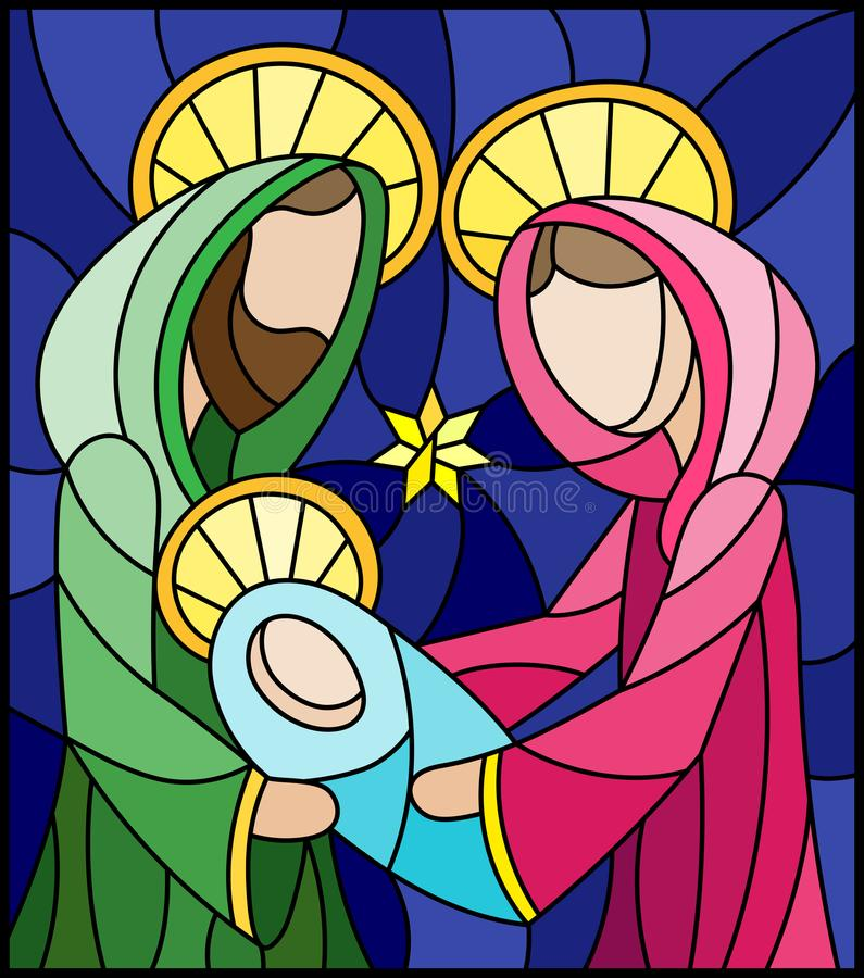 Stained glass illustration on biblical theme, Jesus baby with Mary and Joseph, abstract figures on blue background, rectangular im royalty free illustration